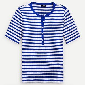 New J.Crew Striped Ribbed Knit Short Sleeve Henley